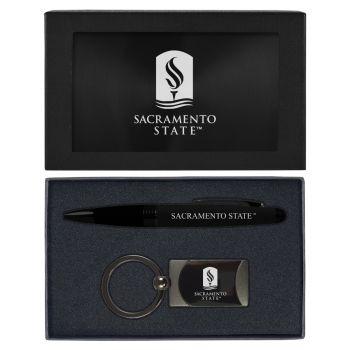 California State University -Executive Twist Action Ballpoint Pen Stylus and Gunmetal Key Tag Gift Set-Black