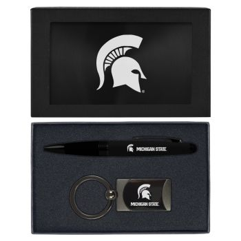 Michigan State University-Executive Twist Action Ballpoint Pen Stylus and Gunmetal Key Tag Gift Set-Black