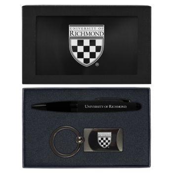 University of Richmond -Executive Twist Action Ballpoint Pen Stylus and Gunmetal Key Tag Gift Set-Black
