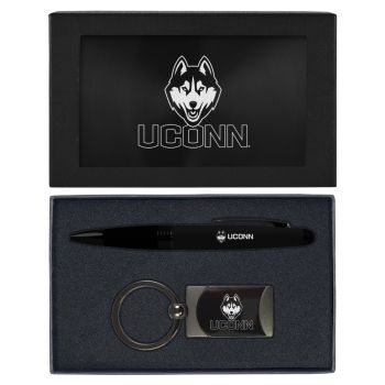University of Connecticut-Executive Twist Action Ballpoint Pen Stylus and Gunmetal Key Tag Gift Set-Black