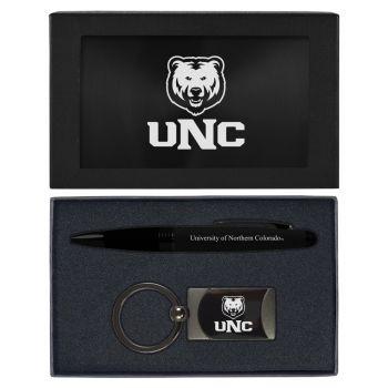 University of Northern Colorado -Executive Twist Action Ballpoint Pen Stylus and Gunmetal Key Tag Gift Set-Black