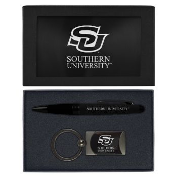 Southern University -Executive Twist Action Ballpoint Pen Stylus and Gunmetal Key Tag Gift Set-Black