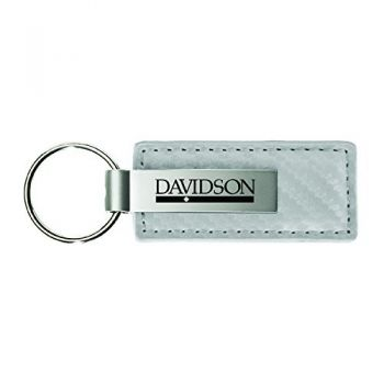 Davidson College-Carbon Fiber Leather and Metal Key Tag-White