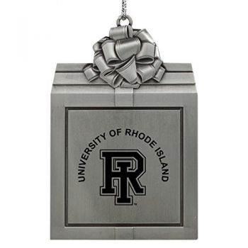 The University of Rhode Island -Pewter Christmas Holiday Present Ornament-Silver