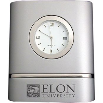 Elon University- Two-Toned Desk Clock -Silver