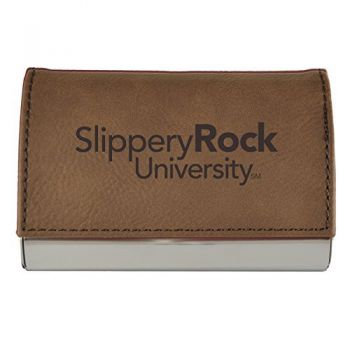 Velour Business Cardholder-Slippery Rock University-Brown