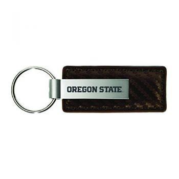 Oregon State University-Carbon Fiber Leather and Metal Key Tag-White