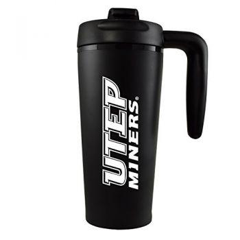 The University of Texas at El Paso -16 oz. Travel Mug Tumbler with Handle-Black