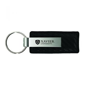 Xavier University-Carbon Fiber Leather and Metal Key Tag-Black