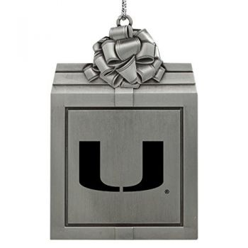University of Miami -Pewter Christmas Holiday Present Ornament-Silver
