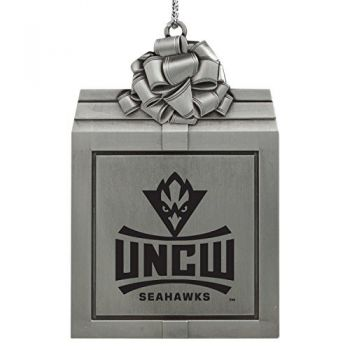 University of North Carolina Wilmington -Pewter Christmas Holiday Present Ornament-Silver
