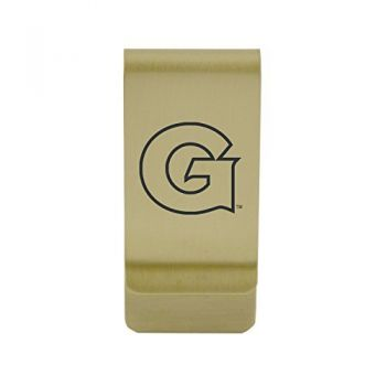 Gonzaga University |Money Clip with Contemporary Metals Finish|Solid Brass|High Tension Clip to Securely Hold Cash, Cards and ID's|Silver