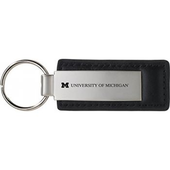 University of Michigan - Leather and Metal Keychain - Black