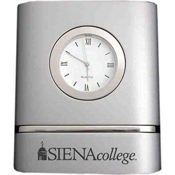 Siena College- Two-Toned Desk Clock -Silver