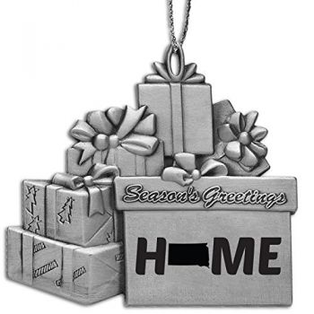 South Dakota-State Outline-Home-Pewter Gift Package Ornament-Silver