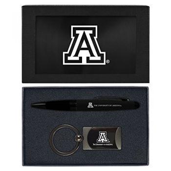 Arizona Wildcats -Executive Twist Action Ballpoint Pen Stylus and Gunmetal Key Tag Gift Set-Black