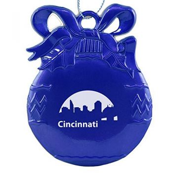 Pewter Christmas Bulb Ornament - Cincinnati City Skyline