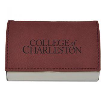 Velour Business Cardholder-College of Charleston-Burgundy