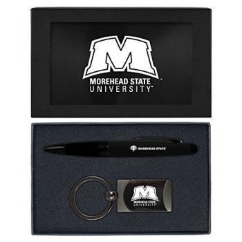 Morehead State University -Executive Twist Action Ballpoint Pen Stylus and Gunmetal Key Tag Gift Set-Black