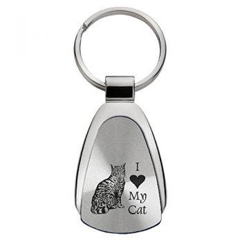 Teardrop Shaped Keychain Fob  - I Love My Cat