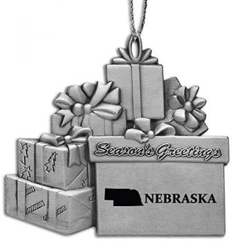 Nebraska-State Outline-Pewter Gift Package Ornament-Silver