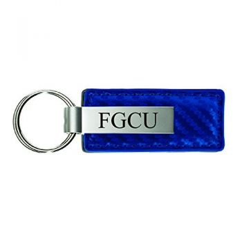 Florida Gulf Coast University-Carbon Fiber Leather and Metal Key Tag-Blue