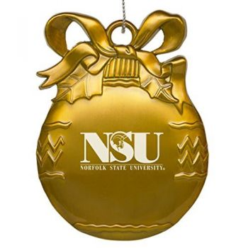 Norfolk State University - Pewter Christmas Tree Ornament - Gold