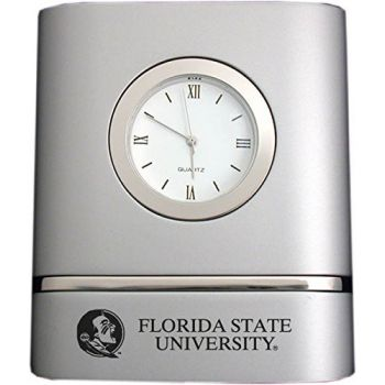 Florida State University- Two-Toned Desk Clock -Silver