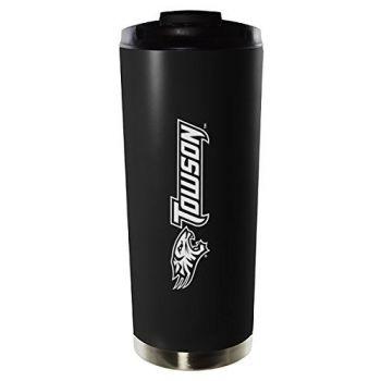 Towson University-16oz. Stainless Steel Vacuum Insulated Travel Mug Tumbler-Black
