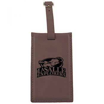 La Salle State University -Leatherette Luggage Tag-Brown