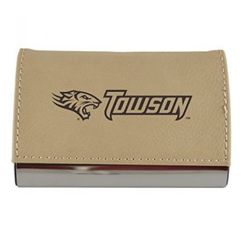 Velour Business Cardholder-Towson University-Tan