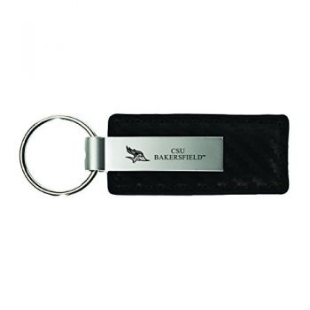 California State University, Bakersfield-Carbon Fiber Leather and Metal Key Tag-Black