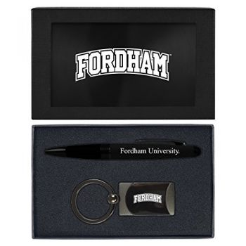 Fordham University-Executive Twist Action Ballpoint Pen Stylus and Gunmetal Key Tag Gift Set-Black