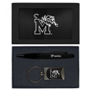 University of Memphis-Executive Twist Action Ballpoint Pen Stylus and Gunmetal Key Tag Gift Set-Black