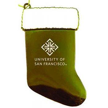 University of San Francisco - Chirstmas Holiday Stocking Ornament - Gold