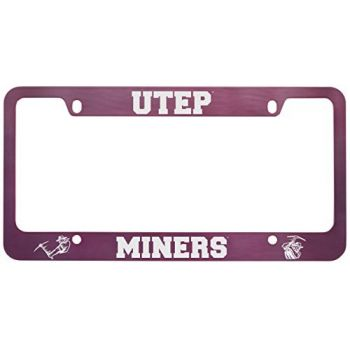 The University of Texas at El Paso -Metal License Plate Frame-Pink