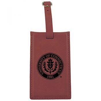University of Connecticut-Leatherette Luggage Tag-Burgundy