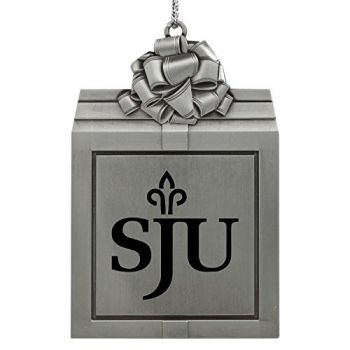 Saint Joseph's university -Pewter Christmas Holiday Present Ornament-Silver