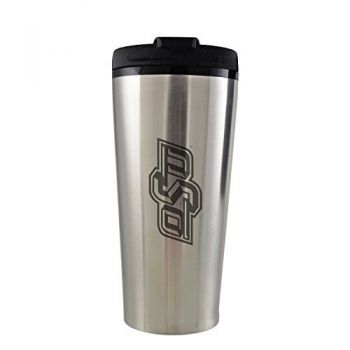 Oklahoma State University -16 oz. Travel Mug Tumbler-Silver