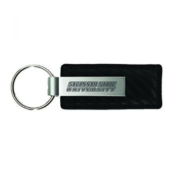 Savannah State University-Carbon Fiber Leather and Metal Key Tag-Black