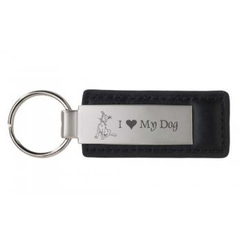 Stitched Leather and Metal Keychain  - I Love My Dog
