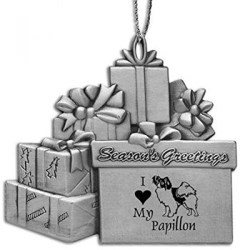 Pewter Gift Display Christmas Tree Ornament  - I Love My Papillon