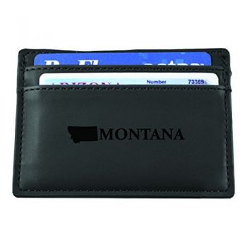 Montana-State Outline-European Money Clip Wallet-Black