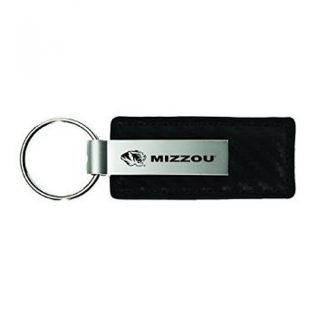 University of Missouri-Carbon Fiber Leather and Metal Key Tag-Black