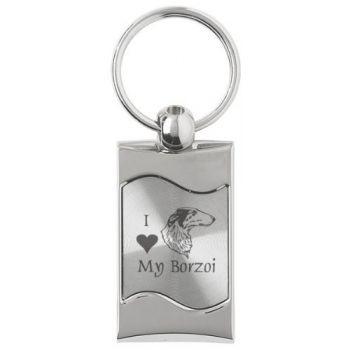 Keychain Fob with Wave Shaped Inlay  - I Love My Borzoi