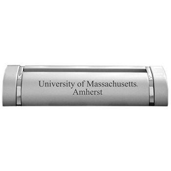 University of Massachusetts Amherst-Desk Business Card Holder -Silver