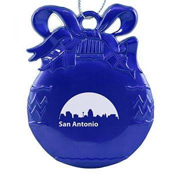 Pewter Christmas Bulb Ornament - San Antonio City Skyline