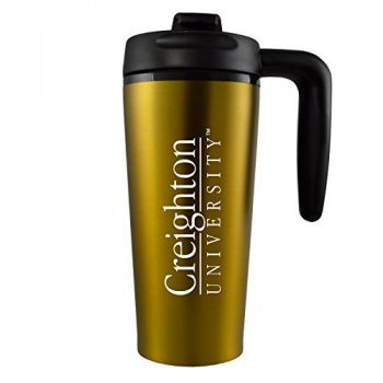 Creighton University -16 oz. Travel Mug Tumbler with Handle-Gold