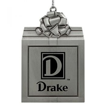 Drake University-Pewter Christmas Holiday Present Ornament-Silver