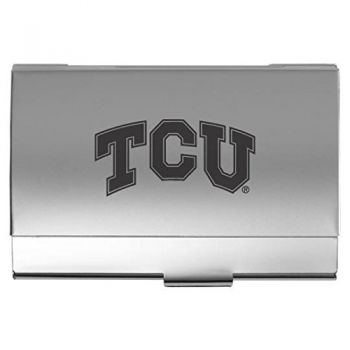 Texas Christian University - Two-Tone Business Card Holder - Silver